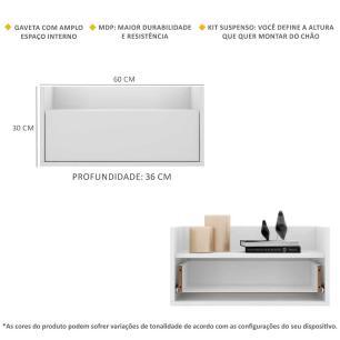 Kit com 2 Mesas de Cabeceira 60 cm Suspensa Multimóveis Branca