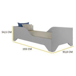Cama Juvenil/Solteiro MDF Sonho FLEX Cinza Prem Multimóveis para colchão 188 x 88 cm REF. 2762.160