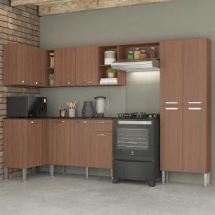 Cozinha Completa com Armário e Balcão com Tampo 5 peças Pequim Zouk Multimóveis Carvalho Avelã