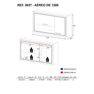 Aéreo de 120 cm Multimóveis Toscana 5027 Argila/Branco 02 portas e nicho