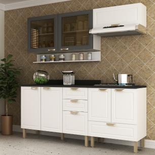 Cozinha Completa 6 peças Americana Multimóveis 5916 Branco/Grafite