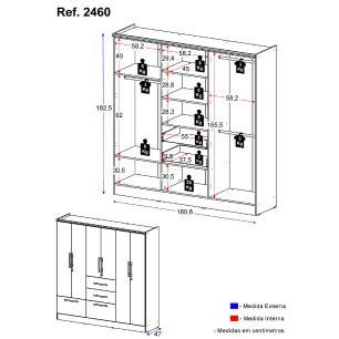 Guarda-Roupa / Roupeiro Multimóveis 8 Portas e 2 Gavetas Preto Acetinado