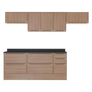 Cozinha Completa Multimóveis com 8 peças Calábria 5456R Nogueira