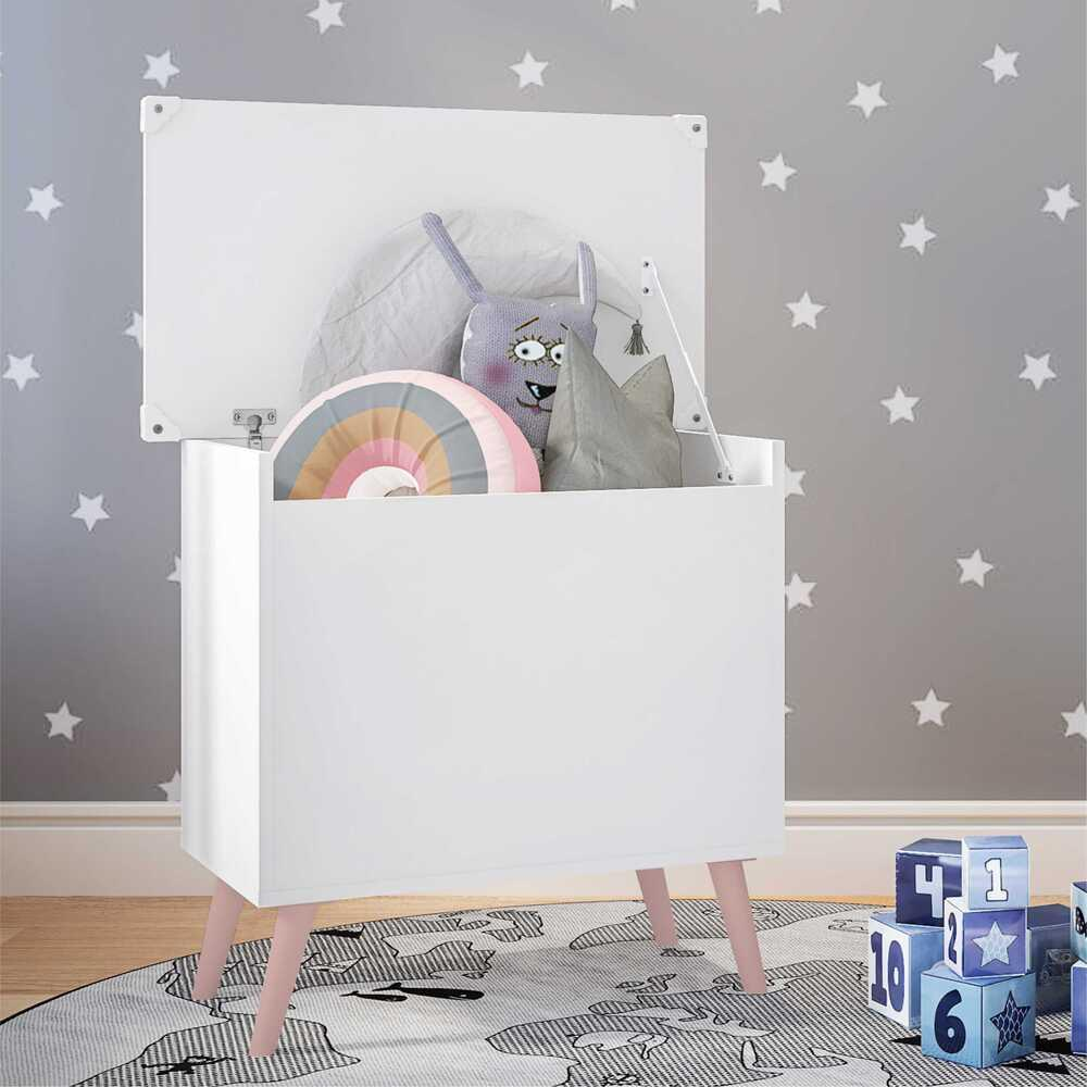 Baú Organizador Caixa de Brinquedos Retrô Multimóveis Branco/Rosa