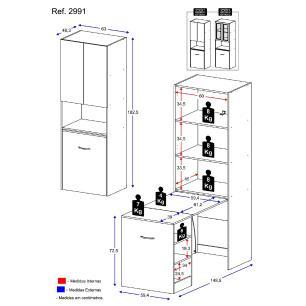 Armário Las Vegas multifuncional/multiuso c/ 2 portas de vidro e mesa retrátil com organizador Multimóveis