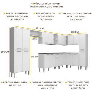 Cozinha Completa com Armário e Balcão com Tampo 9 peças Xangai Rock Multimóveis Branca