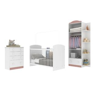 Quarto de Bebê Completo com Berço Guarda-Roupa e Cômoda Multimóveis Confete Luiza