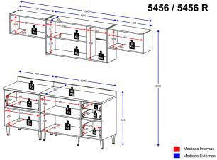 Cozinha Completa Multimóveis com 8 peças Calábria 5456R Nogueira/Branco