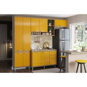 Cozinha Compacta com Pia Inox 5 peças Sicília Multimóveis MP3188 Madeirado/Amarelo