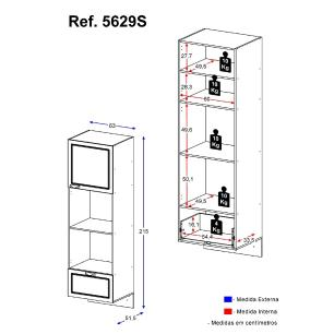 Paneleiro  Multimóveis Nevada para Forno e Microondas Suspenso Grafite REF.5629S.971