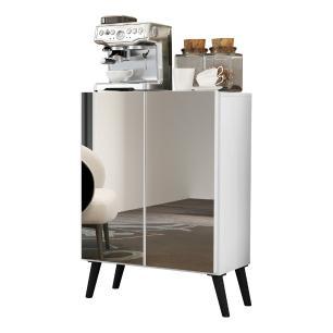 Aparador Cantinho do Café com Espelho e Pés Retrô 2 Portas Multimóveis Branco/Preto