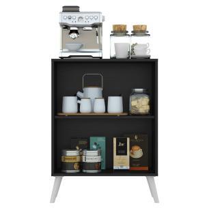 Aparador Cantinho do Café com Espelho e Pés Retrô 2 Portas Multimóveis Preto/Branco