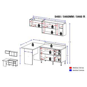 Cozinha Completa Multimóveis com 5 peças Calábria 5460 Nogueira/Branco
