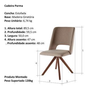 Cadeira de Jantar Giratória Parma Café com Leite 1777 Base Madeira cor Imbuia