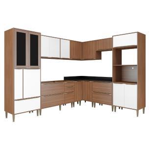 Cozinha Completa Multimóveis com 8 peças Calábria 5461 Nogueira/Branco
