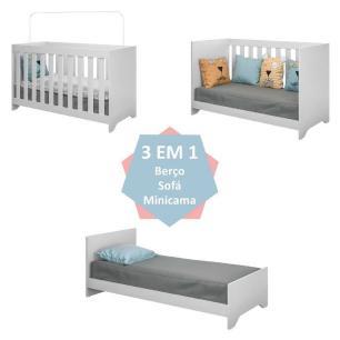 Quarto Infantil Completo com Berço 3x1 e Colchão Doce Sonho Plus Multimóveis