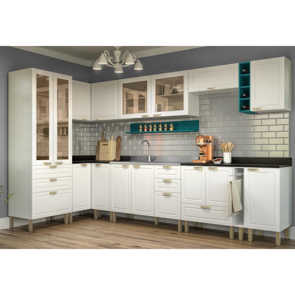 Cozinha Completa 12 peças Americana Multimóveis 5647 Branco/Verde
