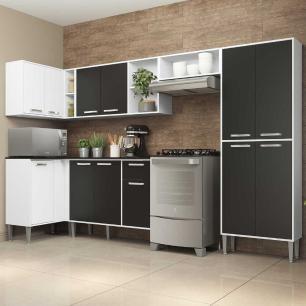 Cozinha Completa com Armário e Balcão com Tampo 6 peças Xangai Zouk Multimóveis Branca/Preta