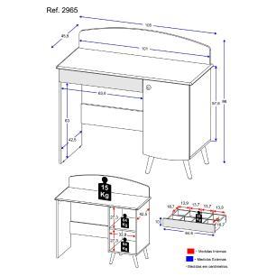 Penteadeira Escrivaninha  100% MDF 1 porta e 1 gaveta com organizador Doçura Multimóveis Bco/Cza/Bco