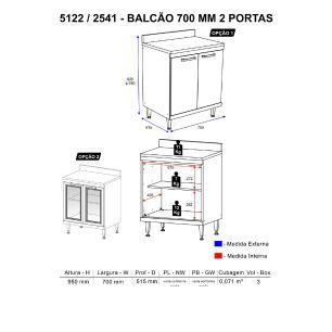 Balcão Multimóveis Sicília Duplo 70cm para  Cooktop 5122 Argila/Grafite