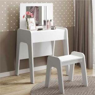 Penteadeira com espelho, banco e 1 gaveta com organizador Doçura Multimóveis Branco