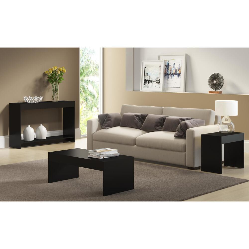 Aparador com mesa de centro e mesa lateral Lyon Multimóveis Preto