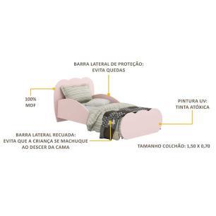 Mini Cama Multimóveis Nuvem 100% MDF para colchão 150cmx70cm Rosa REF.2667.157