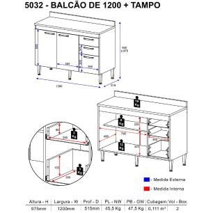 Balcão de 120 cm Multimóveis Toscana 5032 Argila/Branco com Tampo Branco
