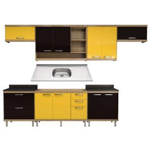Cozinha Compacta com Pia Inox 8 peças Sicília Multimóveis MP3202 Madeirado/Amarelo/Preto