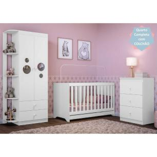 Quarto Infantil Completo com Colchão Incluso Algodão Doce Multimóveis Branco/Colorido