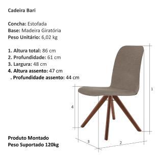 Cadeira de Jantar Giratória Bari Café com Leite 1777 Base Madeira cor Imbuia