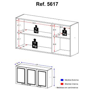 Armário Multimóveis Nevada 120cm com 3 Portas Branco REF.5617.156