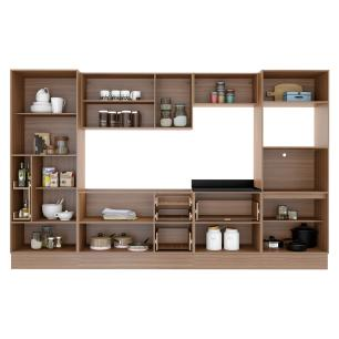 Cozinha Completa Multimóveis com 10 peças Calábria 5451R Nogueira
