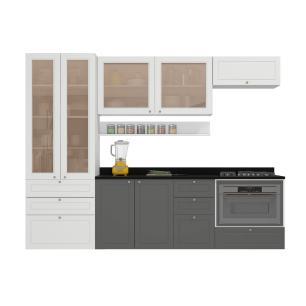 Cozinha Completa 11 peças Americana Multimóveis 5662SMF Branco/Grafite