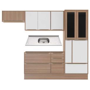 Cozinha Compacta com Pia Inox e Rodapé 7 peças Calábria Multimóveis MP3199 Madeirado/Branco