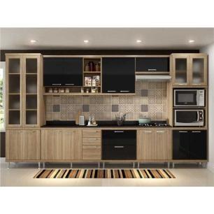 Cozinha Completa Multimóveis com 9 peças Sicília 5807 Argila/Preto