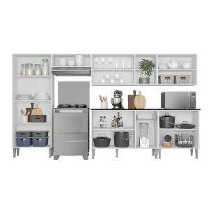 Cozinha Completa Compacta c/ Armário e Balcão c/ Tampo 6 pçs Xangai Jazz Multimóveis Branca/Preta
