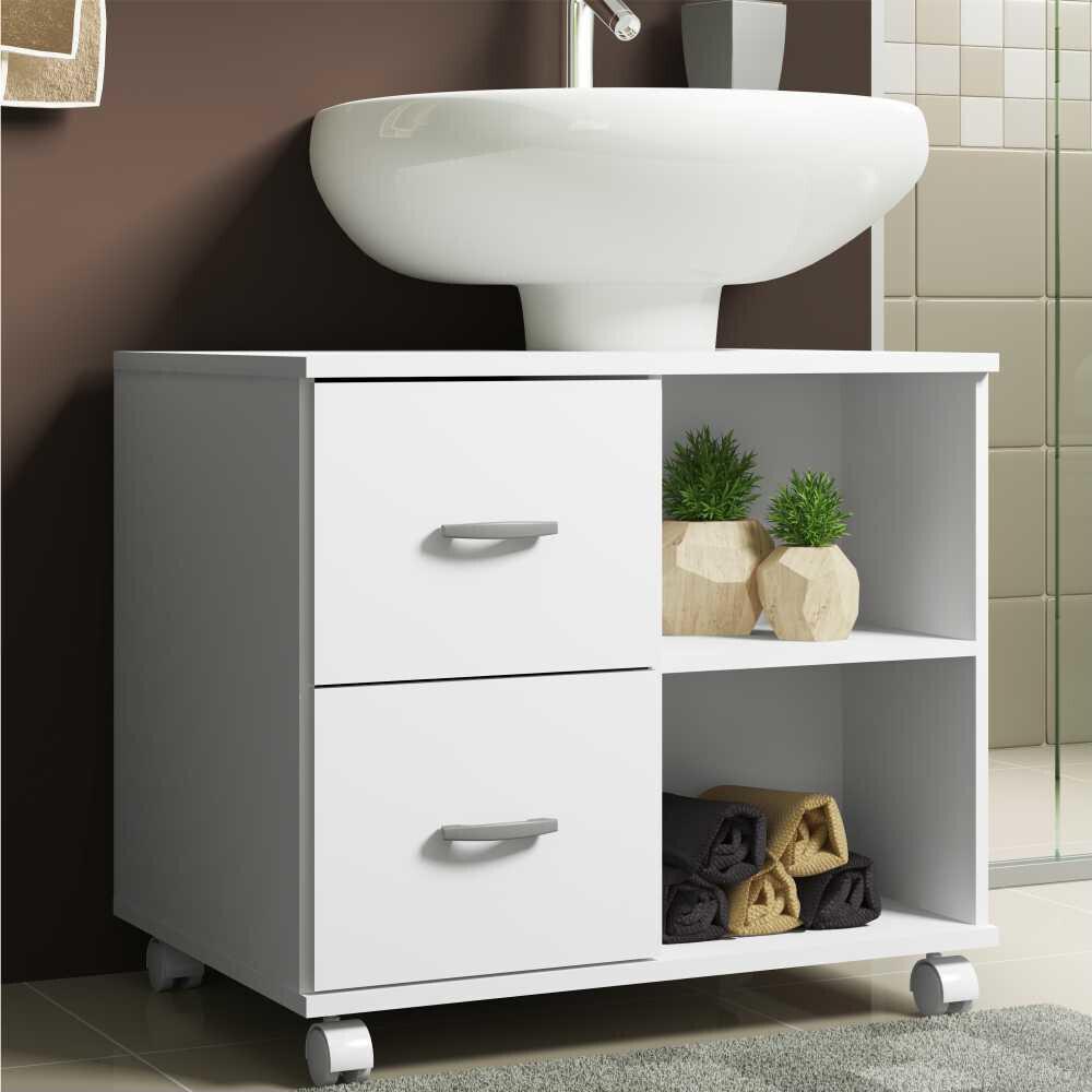 Gabinete Banheiro com recorte para pia, rodízios e 2 gavetas Ice Multimóveis Branco