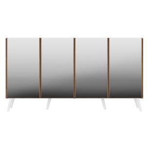 Aparador Buffet 4 portas com Espelho e Pés Retrô Vegas Multimóveis Rustic/Branco