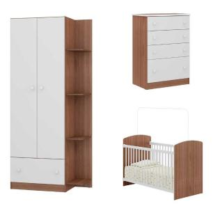 Quarto Completo Infantil Doce Sonho Multimóveis Carvalho/Branco com Berço + Guarda roupa 2 portas