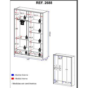Guarda-Roupa / Roupeiro Multimóveis MDF Camafeu com 4 Portas e 2 Gavetas Branco