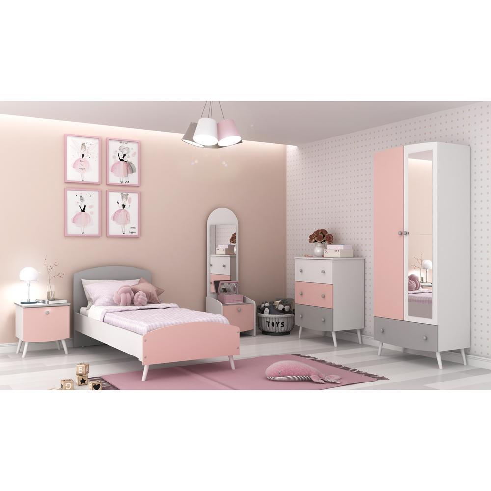 Quarto Completo Doçura 100% MDF com espelho Multimóveis Branco/cinza/Rosa