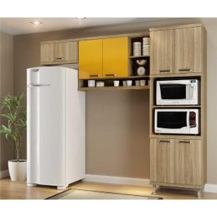 Cozinha Multimóveis Sicília 3 Peças 5161 Argila/Amarelo