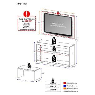 Rack c/Painel TV até 47 Pol Mesa Centro Inovare Multimóveis Duna Texturizado