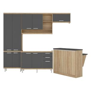 Cozinha Completa Multimóveis com 5 peças Sicília 5845 Argila/Grafite