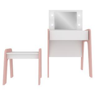 Penteadeira com luzes de LED, espelho, banco e 1 gaveta c/ organizador Doçura Multimóveis Bco/Rosa