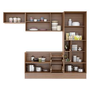 Cozinha Completa Multimóveis com 6 peças Calábria 5453R Nogueira