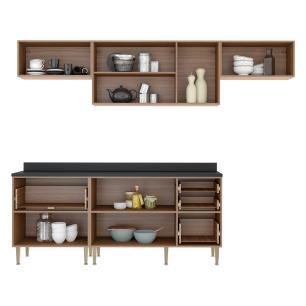 Cozinha Completa Multimóveis com 6 peças Calábria 5456 Nogueira