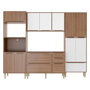 Cozinha Compacta Multimóveis com 4 peças Calábria 5452 Nogueira/Branco