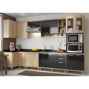 Cozinha Completa Multimóveis com 7 peças Sicília 5830 Argila/Preto